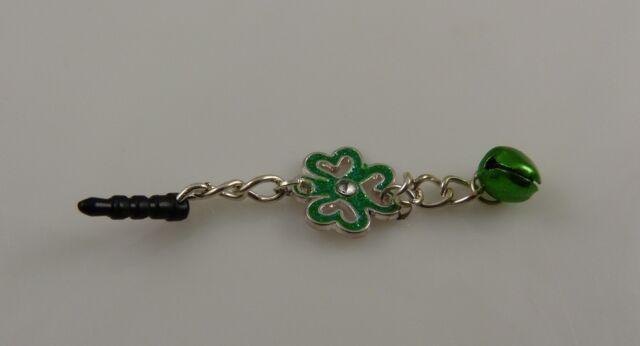 clover jingle charm cell phone charm ear cap dust plug St. Patrick's Day