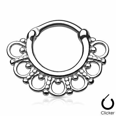 Hot Septum Clicker Hoop Tribal Fan Indian Body Piercing Surgical Steel Nose Ring