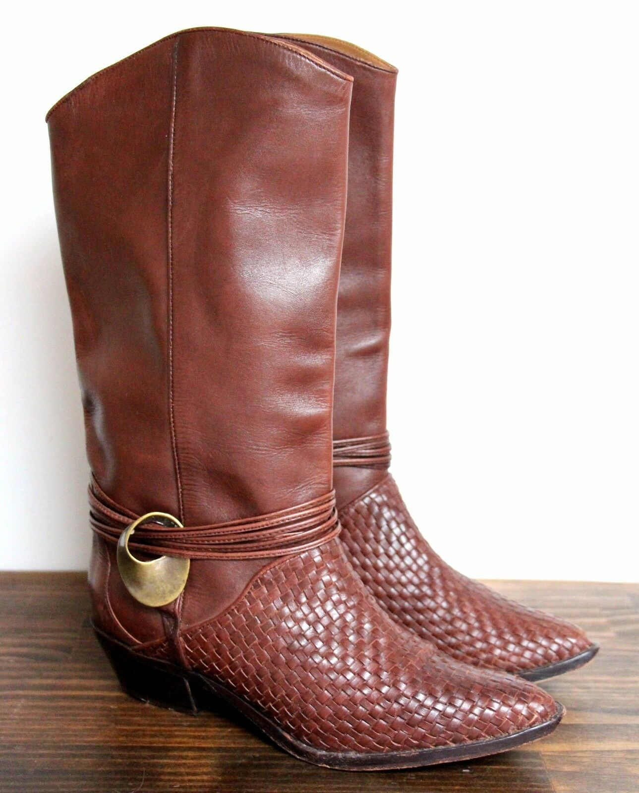 NEIL STEPHEN RICH BROWN LEATHER PULL ON MID CALF WESTERN COWGIRL BOOTS SHOES 6M