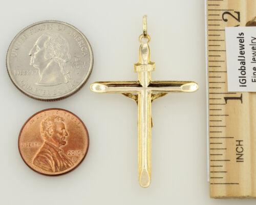 14K jaune deux tons or Half Hollow Jésus estampillé Crucifix Cross Charme Pendentif