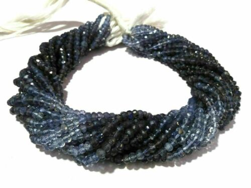 """10 Strand Natural Iolite Shaded Rondelle 4-4.5mm Faceted Gemstone Beads 13/""""Inch"""