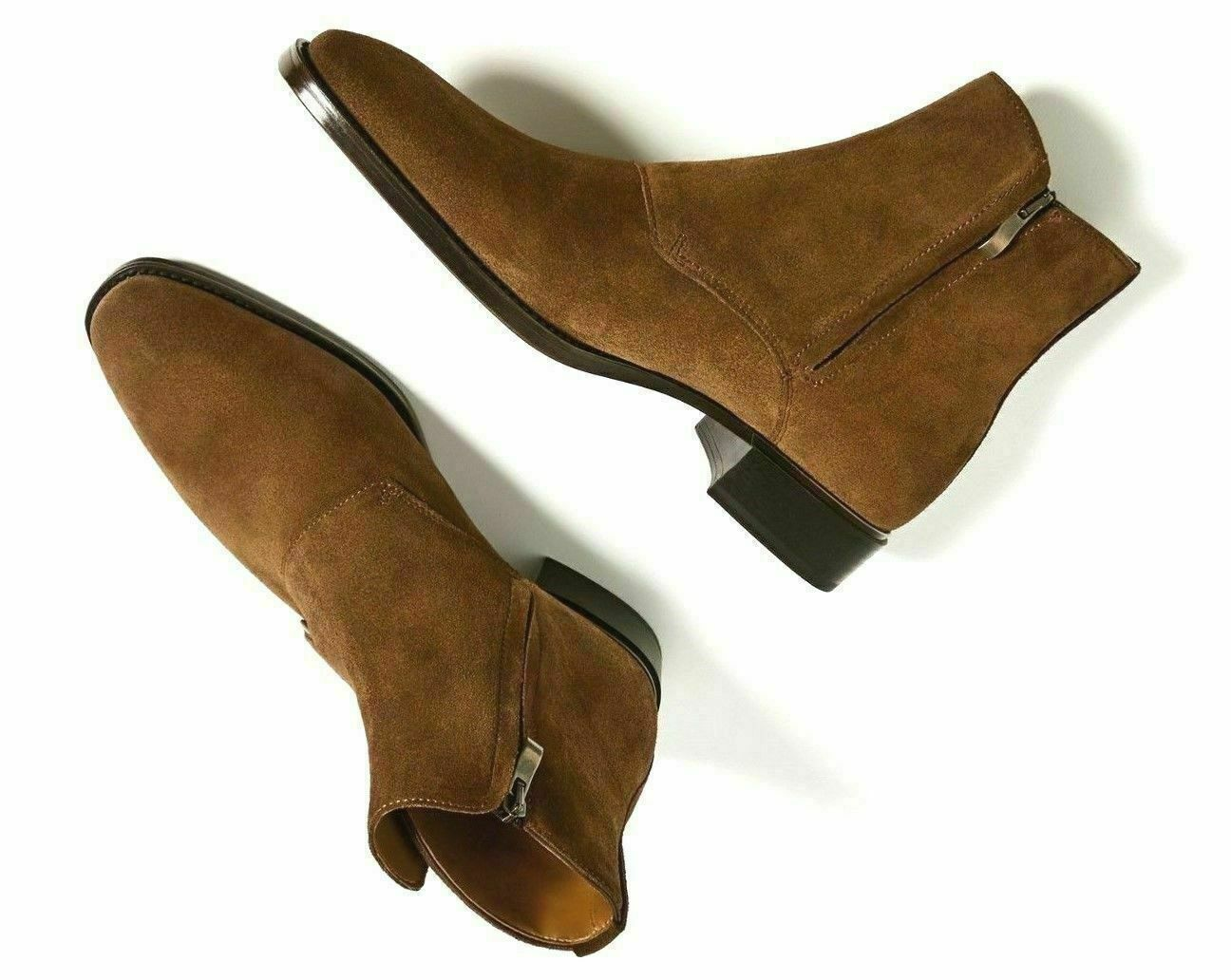 NEW-Mens Handmade Boots Brown Suede Leather Triple Buckle Ankle High Boots/Shoes