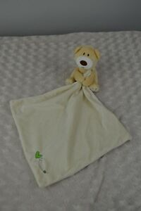 Baby Play Teddy Bear Holding Lovey Security Blanket Tan Green Heart Plush Toy