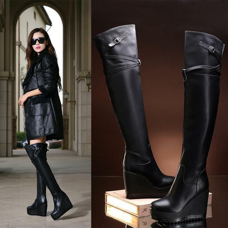 Womens Real Leather Over Knee Platform Wedge Heel Zipper Riding Thigh Boots D373