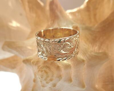 14k white yellow rose gold custom made hand engraved Hawaiian Personalized Jewelry princess scroll band ring 3mm