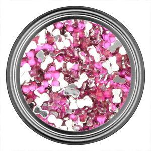 Dark-Pink-Bow-Rhinestone-Gems-Flatback-Face-Art-Nail-Art-Scrapbook-Phone-3mm