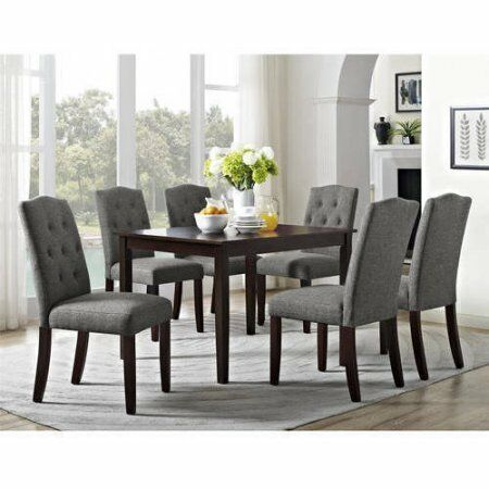 Dining Table Chairs 7 Piece Wood Tufted Modern Contemporary Living Kitchen  Set