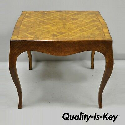 Italian Parquetry Inlay Olive Wood Square Coffee Side Table Louis