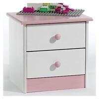 Table De Chevet En Pin Rondo Lasuré Blanc/rose