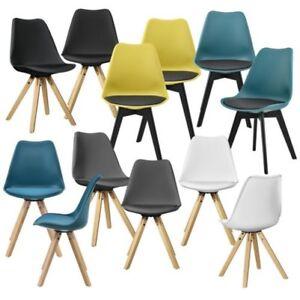 en.casa] 2x Design sedie per sala da pranzo legno plastica cuoio ...