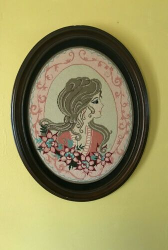 Embroidered Needlepoint picture framed Lady Mahogany large oval hanging