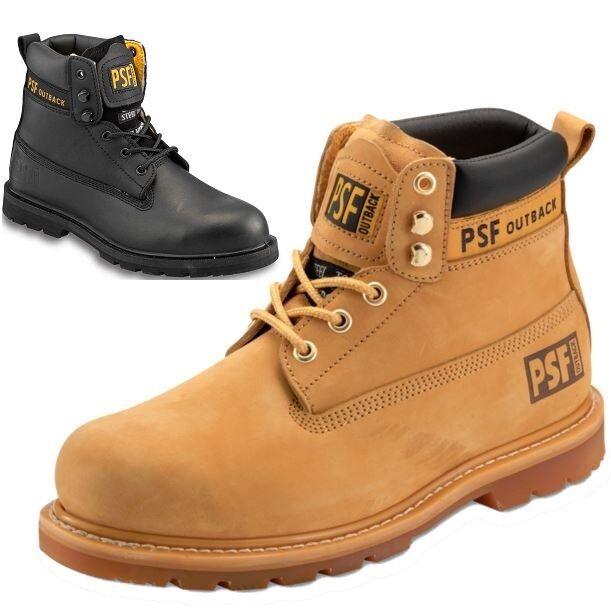 Zapatos de trabajo de seguridad de cuero para hombre PSF Puntera De Acero botas al Tobillo Entrenador excursionista Tamaño