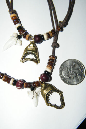 "16/""-28/"" NEW SHARK Tooth Necklace /& Great White JAWS Bronze Charm Mouth Opens Up"