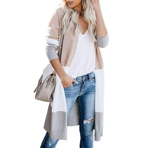 Womens Boho Open Front Cardigan Colorblock Long Sleeve Loose Knit Sweaters Coat