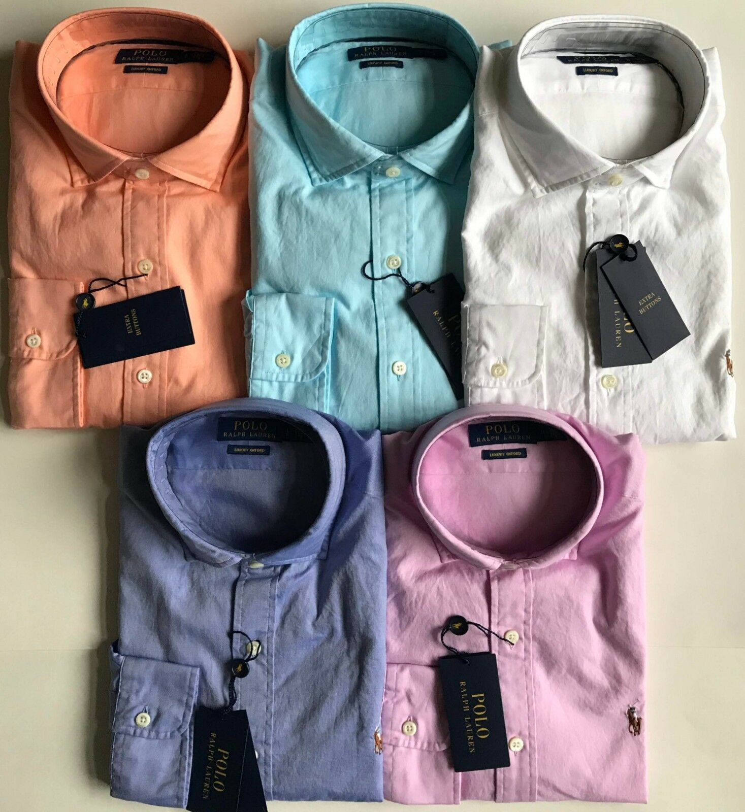 acde5938d NWT Mens Polo Ralph Lauren Solid Luxury Oxford Long Sleeve Woven BD Shirt
