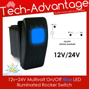 Details about 12V~24V MULTIVOLT BLUE LED ILLUMINATED ON/OFF ROCKER on