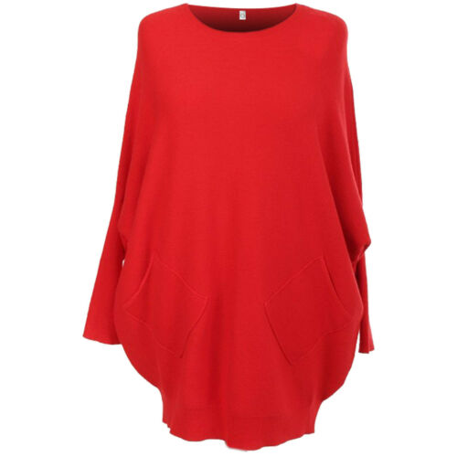 New Italian Ladies Batwing Back Lace Lagenlook Jumper Women Knitted Pockets Top