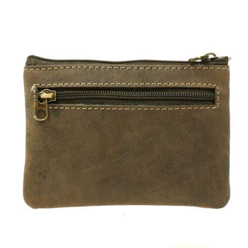 Small High Quality Oil Brown Credit Card Holder DistressedLeather Coin Purse 506