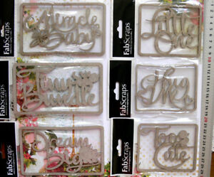 Chipboard-HUG-ME-LITTLE-ONE-MIRACLE-BABY-TINY-BUNDLE-DREAM-BIG-TOO-CUTE-Choice-B