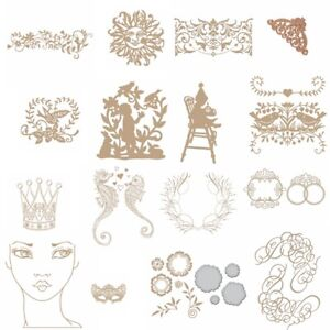 Decor-Rattan-Crown-Mask-Girl-Hot-Foil-Plate-Embossing-Dies-Stencil-Crafts-Album