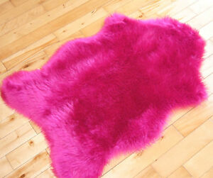 Image Is Loading Bright Pink Sheepskin Fluffy Plain Rug Soft
