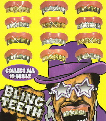 1pc Bling Grill Grillz Fake Teeth Bulk Halloween Birthday Party Gold SilverB-3C