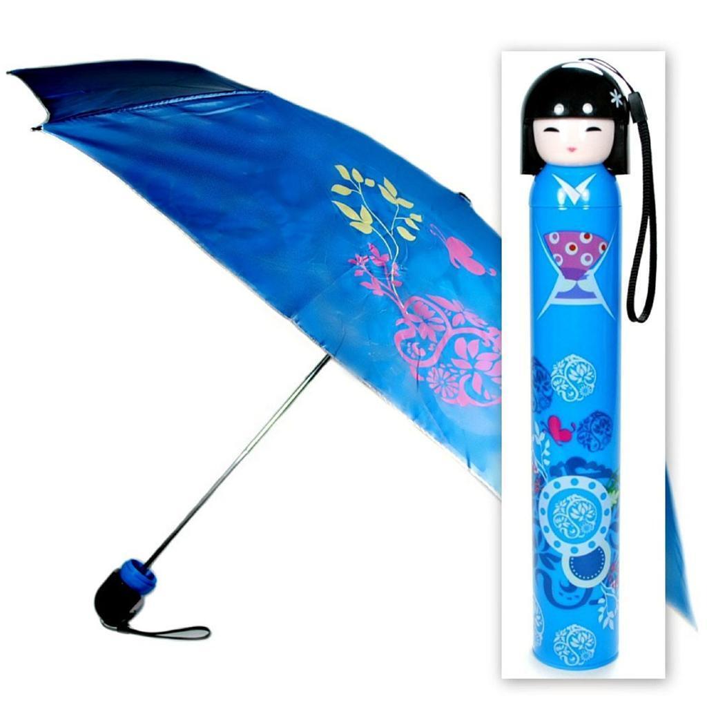 (Kokeshi Poupée Parapluie Bleu Pliage W Coque Fille Geisha Japonais Femme Chine