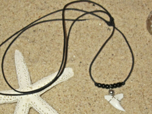 REAL SHARK TOOTH TEETH CHARM PENDANT CORD NECKLACE BLUE BEADS SURFER boy girl