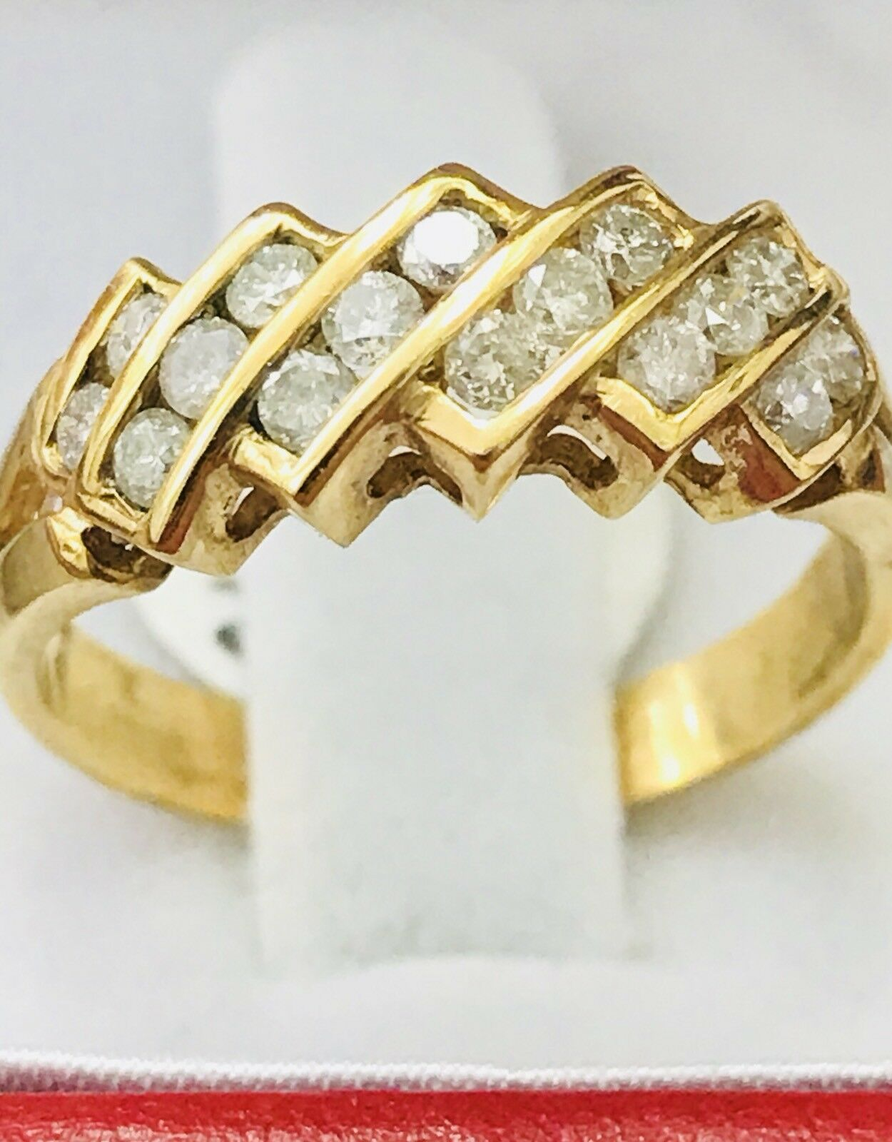 14k Solid Yellow gold Natural diamond ring 0.50 ct slanted Pre owned