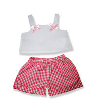 """Pink Gingham Check Shorts & top bows outfit teddy clothes fits 15"""" Build a Bear"""