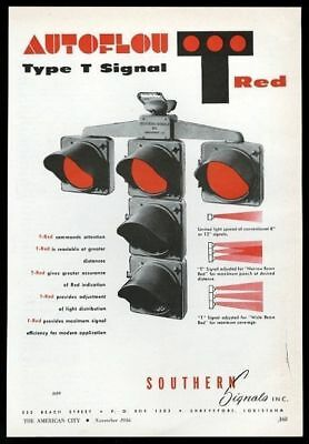 1956 Southern Signal Autoflow T-red Traffic Stop Light Vintage Trade Ad Shrink-Proof Advertising-print Merchandise & Memorabilia
