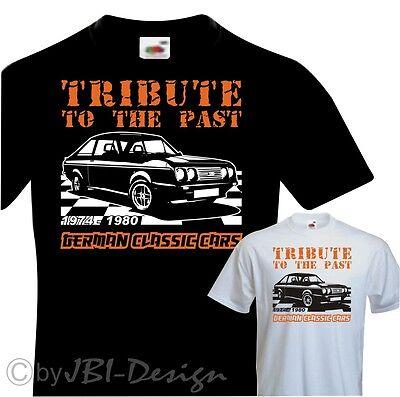 T-Shirt zweifarbiger Druck Oldtimer Escort MK 2 RS 2000 BMW Audi Ford usw
