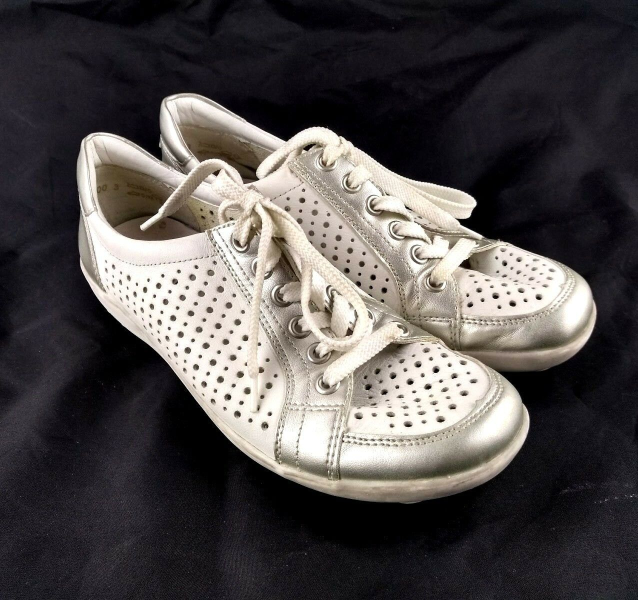 Remonte Women Sz 38  US Silver 7-8 Fashion Sneaker White Silver US Perforated 165-3 d82f24