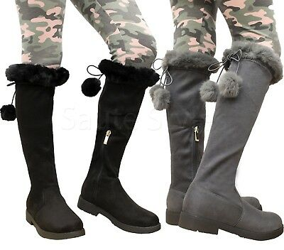 NEW Girl/'s Kid Hot Fashion Knee High Riding Flat Heel Boots Shoes Faux Leather