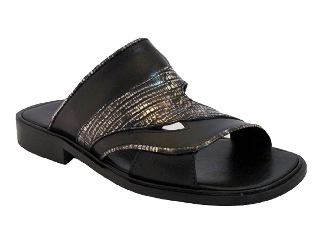 Davinci 3936 Men's Italian Slip On Leather Woven Sandals Black