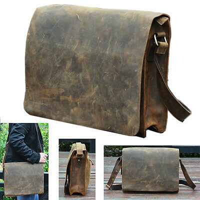 "Men 100% Genuine Leather Cowhide 14*3*10"" Crossbody Satchel Messenger Laptop Bag"