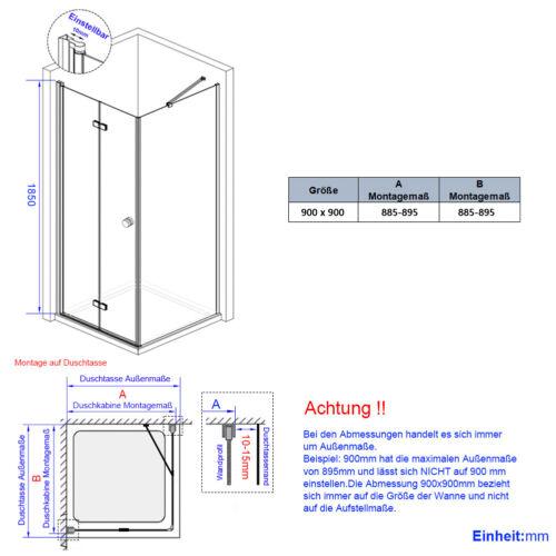 Duschabtrennung Falttür Dusche Glas Duschkabine mit Seitenwand 75x90 80x80 90x70
