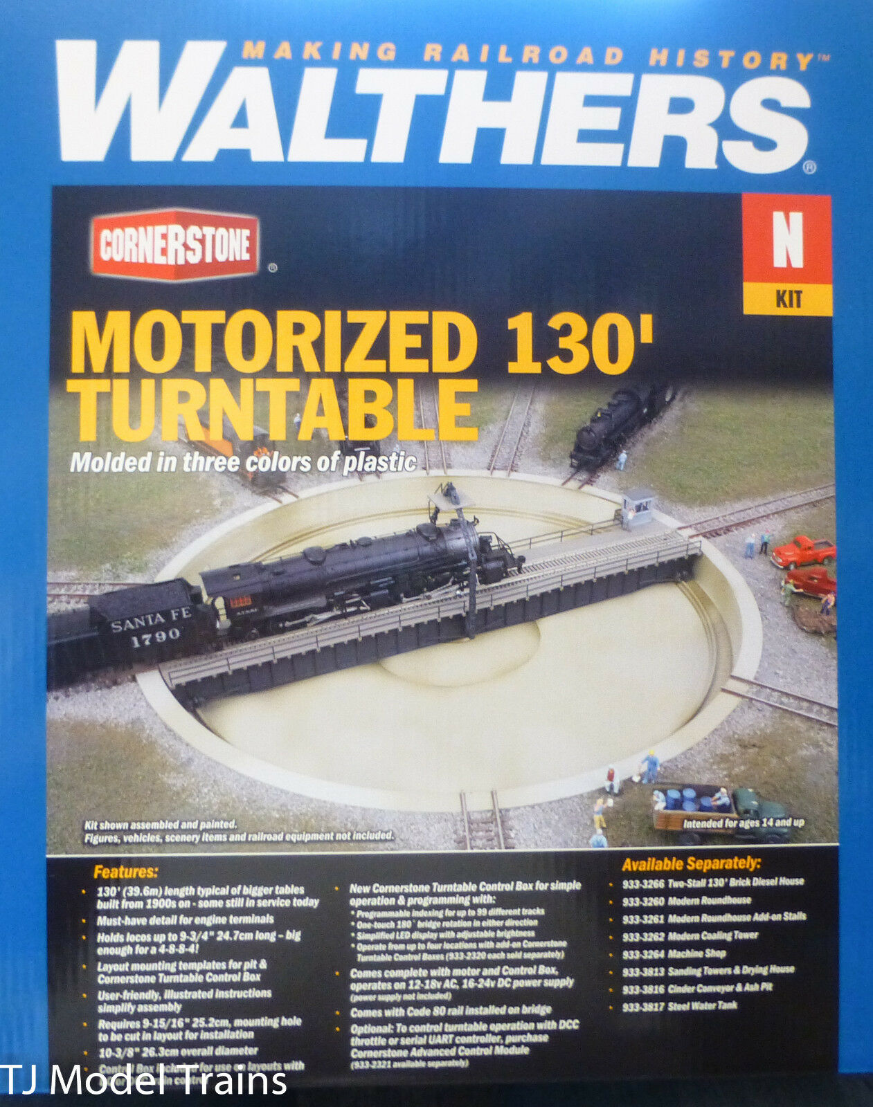 Walthers HO  933-2618 Motorized 130' Turntable -- Assembled - 10-3/8  26.3cm Dia