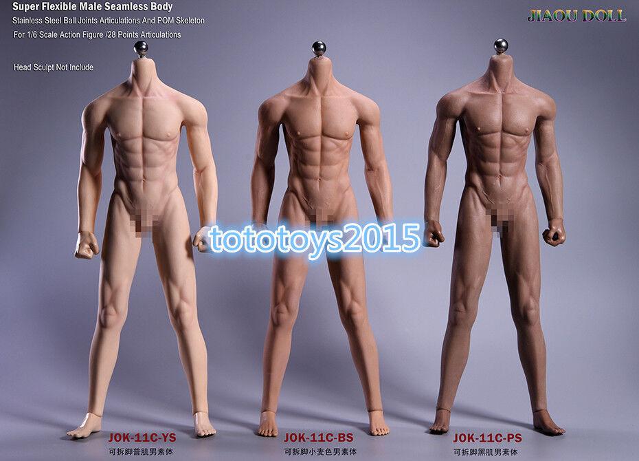 JIAOUDOLL 1 6 Rubberized Male Body Detachable Foot Action Figure 3 Skin Couleur