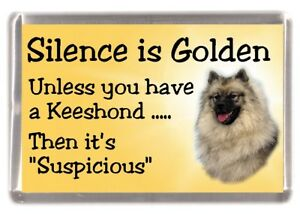 Keeshond-Dog-Fridge-Magnet-034-Silence-is-Golden-034-by-Starprint