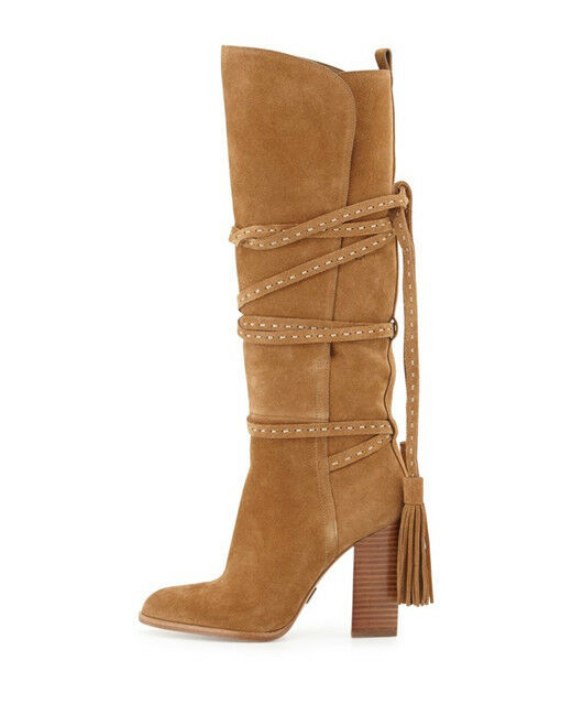 Camel Camel Camel Women's New Fashion Tassel Lace Wrap Block Heel Knee High Boots Plus Size 146d88