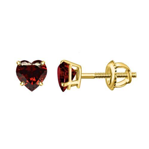 1CT EXCELLENT HEART CUT GARNET 14K YELLOW GOLD OVER SCREW BACK VALENTINE EARRING