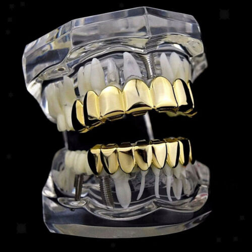 2x 18 Karat Gold Hip Hop 8 Zähne Top /& Bottom Grills Set Vampire Requisiten 2