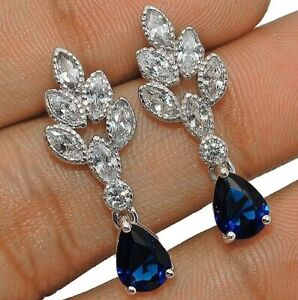 Blue-Sapphire-amp-White-Topaz-925-Solid-Sterling-Silver-Earrings-Jewelry-W-31