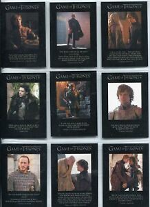 Games Of Thrones Season 2 Complete Quotable Chase Card Set Q11-Q19