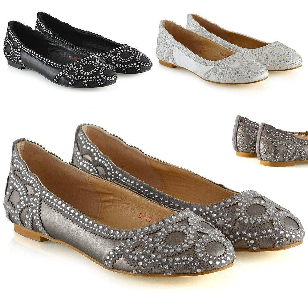 New Mujer Bridal Pumps Slip zapatos Ladies Diamante Party Slip Pumps On Talla 3-9 967de6