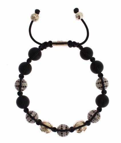 L RRP $330 NIALAYA Authentic Bracelet Womens CZ Black Matte Onyx 925 Silver s