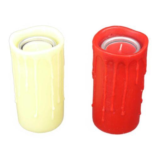 Wachs Teelichthalter 2 Farben Kerzenoptik inkl Teelicht Kerzenhalter Kerzen Deko