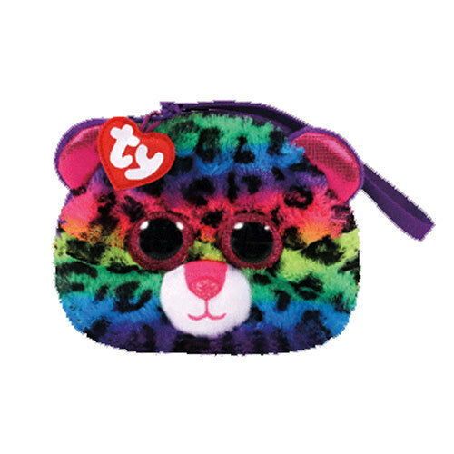 c1643db4529 2017 TY Gear Beanie Boos DOTTY Rainbow Leopard Wristlet Coin Purse with  Strap