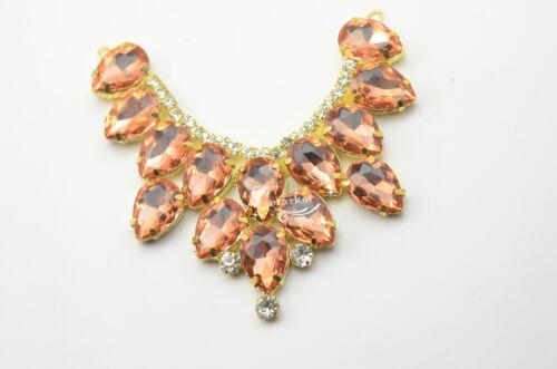 1 Pcs Costume de robe de mariage applique couleur cristal strass à coudre sur K9021